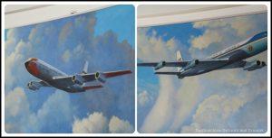 Wall drawings of Air Force planes at Ronald Reagan Presidential Library