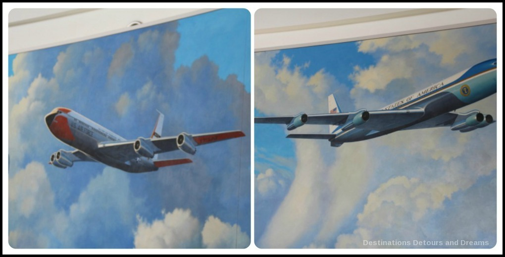 Wall drawings of Air Force planes at Ronald Reagan Presidential Library