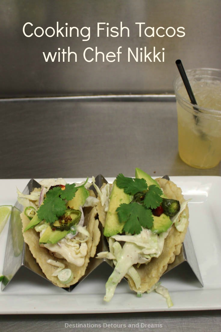 Learning to cook fish tacos with Chef Nikki Newman of Mandalay Beach Resort's Coastal Grill in Oxnard, California