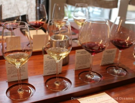 Wine flight at La Crema Tasting Room