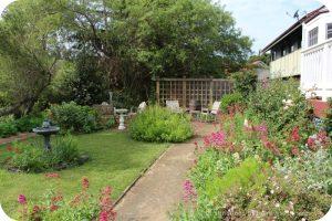 Garden at the back of Olallieberry Inn, Cambria