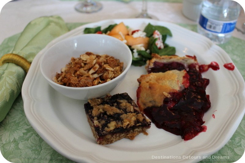 Sampling of food at Olallieberry Inn, Cambria California