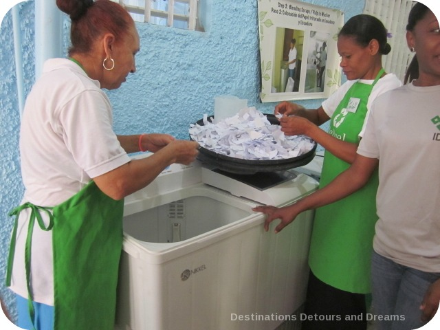 Fathom Travel: washing paper bits at RePapel recycling
