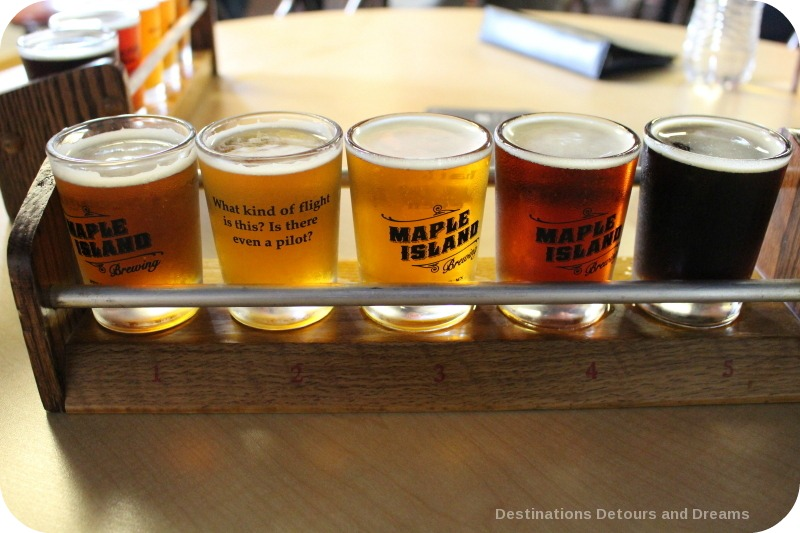 Beer flight at Maple Island Brewing
