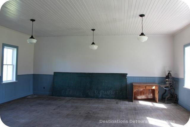 Interior of school under restoration, Neubergthal