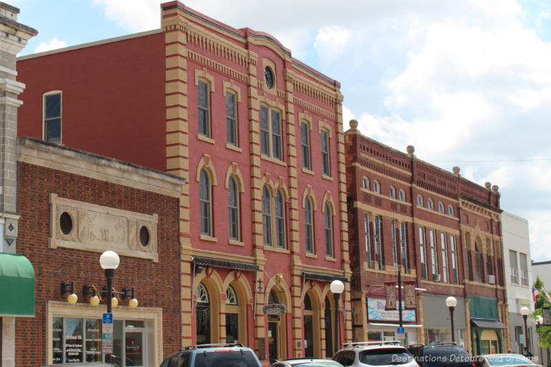 Italianate style historic building along a small town main street in New Ulm, Minnesota