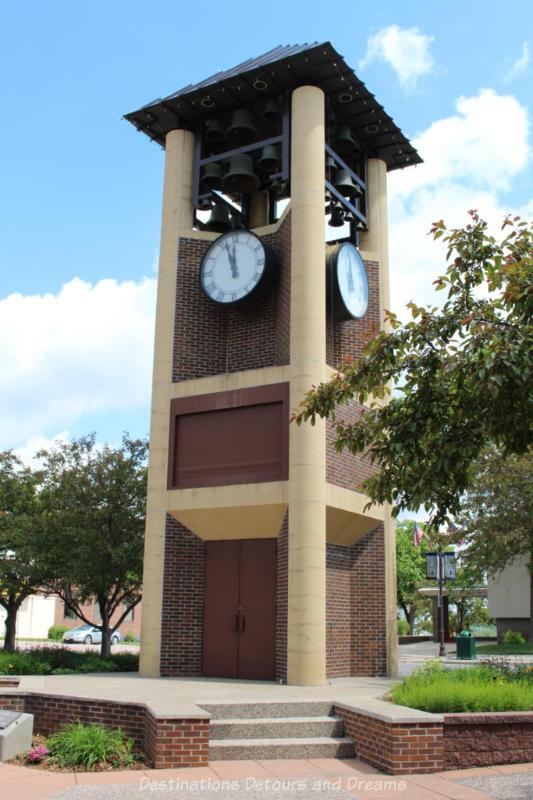 Tower containing a Glockenspiel clock in New Ulm, Minnesota