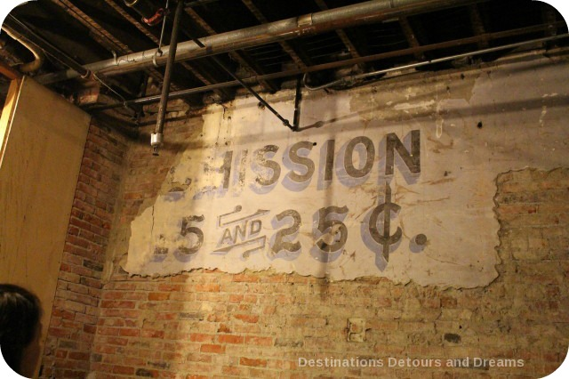 Speakeasy admission sign in Underground Seattle