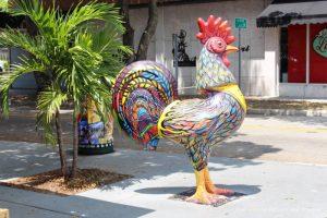 Decorative rooster in Little Havana neighbourhood in Miami, Florida