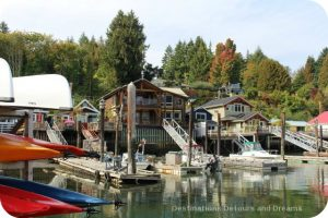 Cottages on stilts in the quaint, seaside village of Cowichan Bay on Vancouver Island