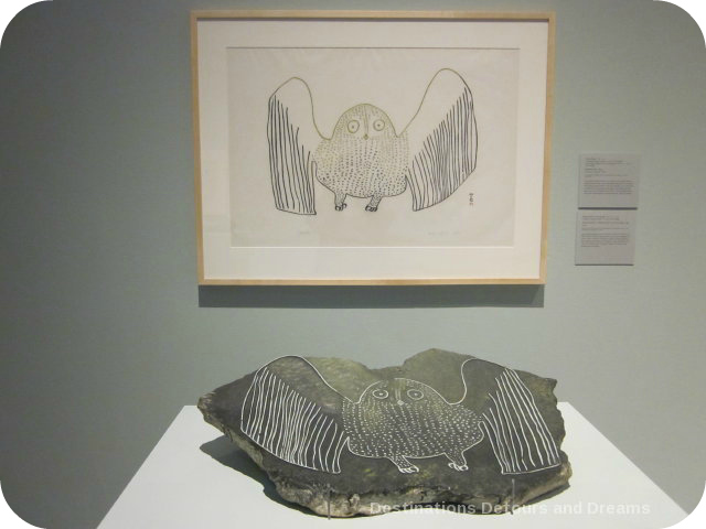 About printmaking at Our Land Inuit art exhibit at Winnipeg Art Gallery - Startled Owl by Pauta Saila