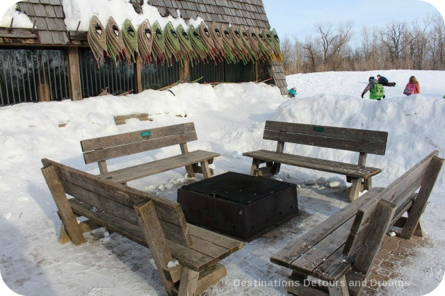 Winnipeg Winter Fun at FortWhyte Alive: firepit