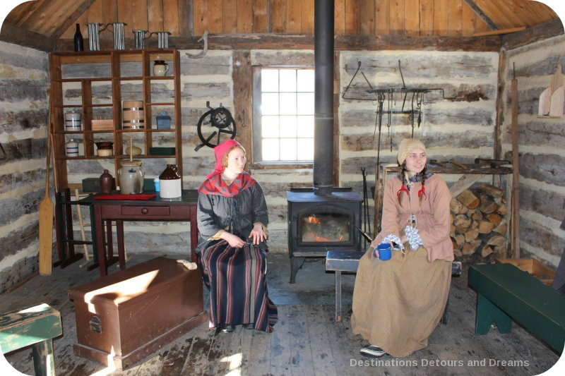 Festival du Voyageur interpreters at Fort Gibraltar cabin