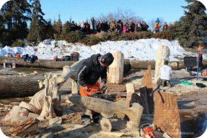 Wood Carving Challenge at Festival du Voyageur