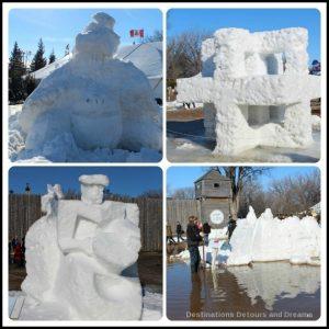Festival du Voyageur snow sculptures starting to melt