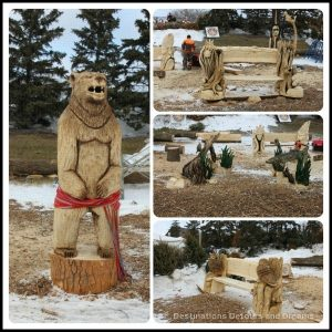 Wood sculptures from the Festival du Voyageur Wood Carving Challenge