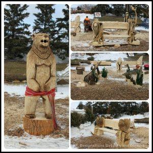 Wood sculptures from the Festival du Voyageur Wood Carving Challenge