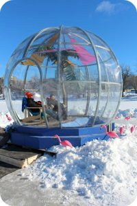 """Ice Skating and Architecture: Warming Huts on the River, Winnipeg - """"Greetings from Bubble Beach"""" hut"""