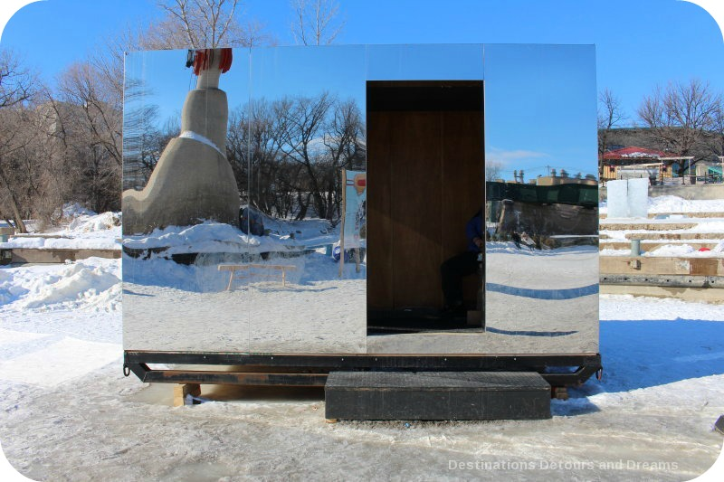 "Ice Skating and Architecture: Warming Huts on the River, Winnipeg - ""Mirror Cloaking"" hut"
