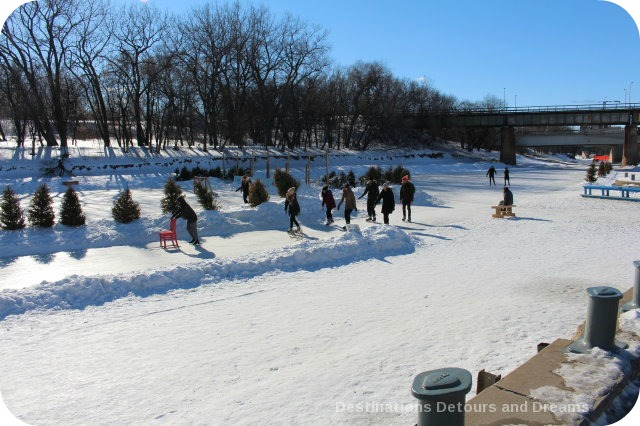 Unique Winnipeg Winter Fun Activities - ice skating on the Red River Mutual Trail, the longest naturally frozen skating trail in the world