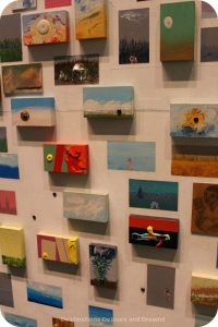Art in the Library: close-up view of Untitled by Cliff Eyland