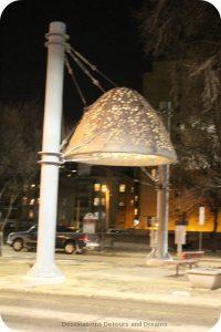 Winnipeg Public Art: Heaven Between by Bill Pechet lit at night