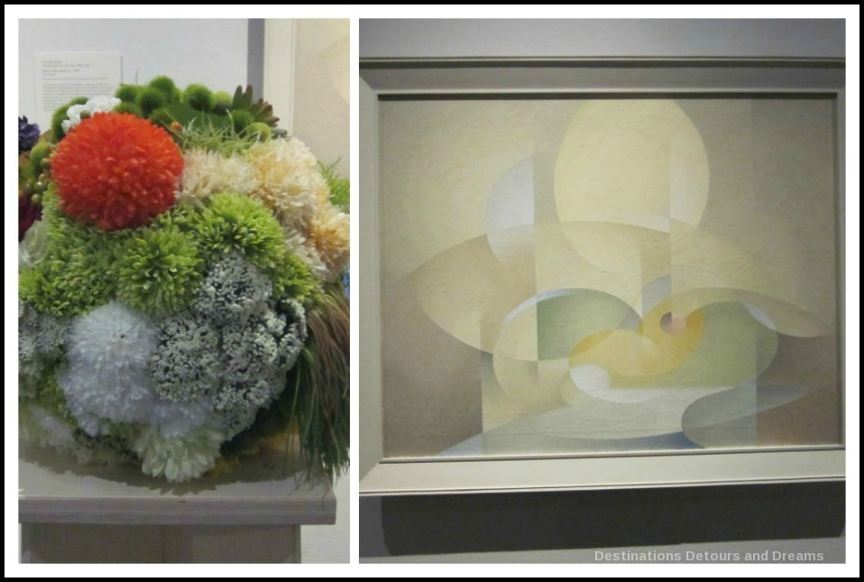 "Art in Bloom: a floral display inspired by art at the Winnipeg Art Gallery: design by Ewa Tarsia inspired by Lionel LeMoine FitzGerald's ""Abstract: Green and Gold"""