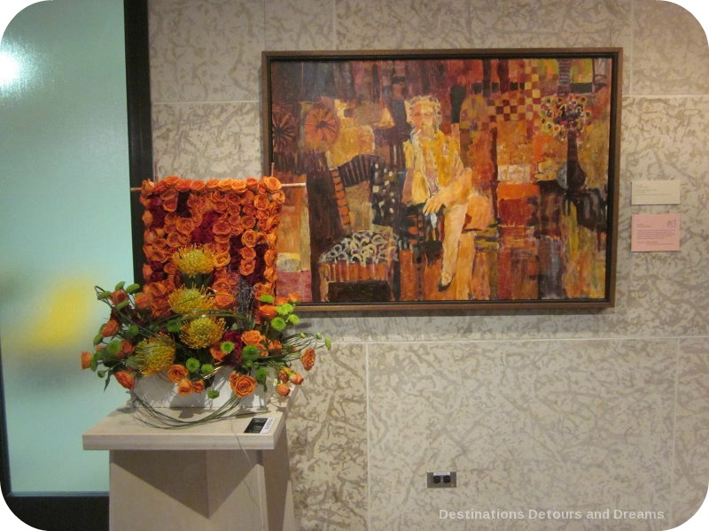 "Art in Bloom: a floral display inspired by art at the Winnipeg Art Gallery: design by Bernice Klassen inspired by Ivan Eyre's ""Woman and Interior"""