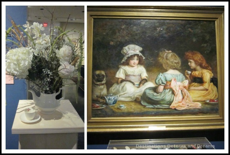 "Art in Bloom: a floral display inspired by art at the Winnipeg Art Gallery: design by House of Peace Nieghbours inspired by Sir John Everett Millais' ""Afternoon Tea"""