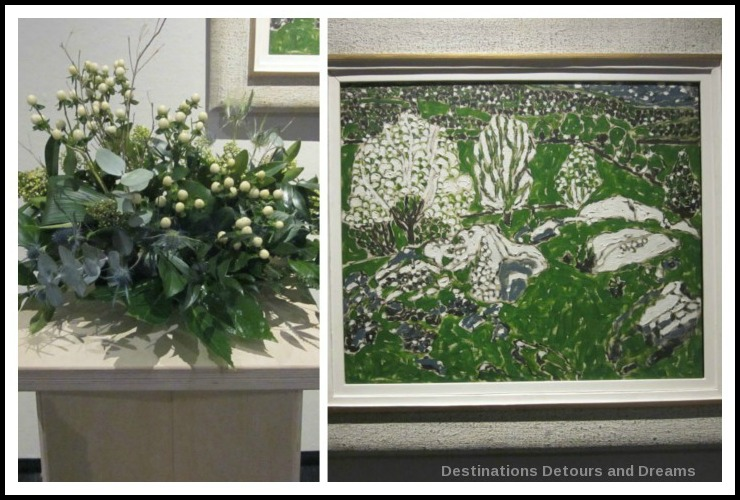 "Art in Bloom: a floral display inspired by art at the Winnipeg Art Gallery: design by Mo Chen inspired by David Borwn Milne's ""White Trees in a Green Valley"""