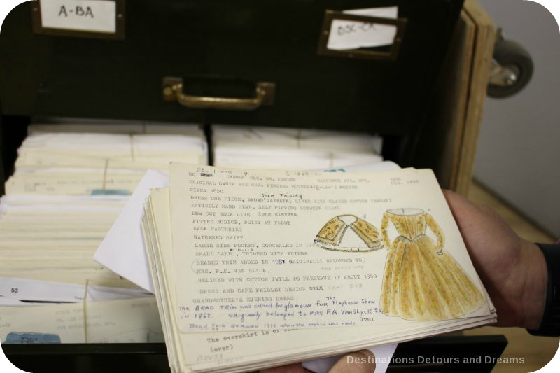 Behind the scenes at the Costume Museum of Canada - index card cataloguing