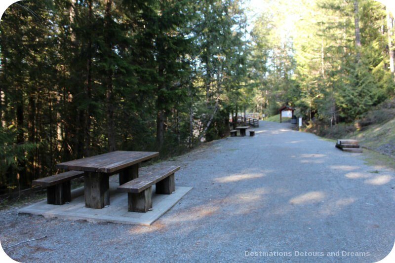 Picnic tables at historic Kinsoh Trestle Bridge on Vancouver Island