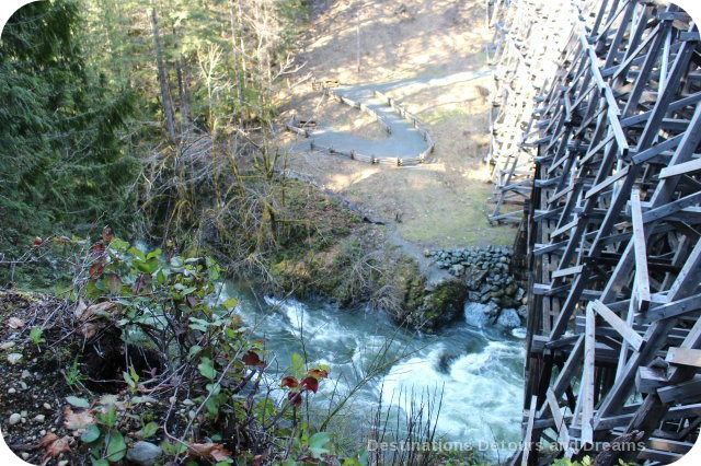 At the hsitoric historic Kinsoh Trestle Bridge on Vancouver Island