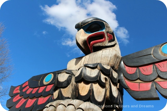 Totem pole in the sky - The Feast by Doug LaFortune (a.k.a. William Horne) in Duncan British Columbia