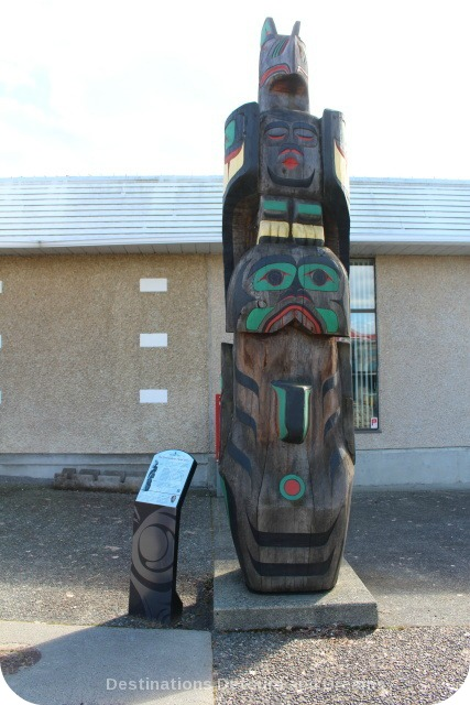 The Gwa'yasdams Flood Story by Haeklas (Basil James) totem pole in Duncan British Columbia (the City of Totems)
