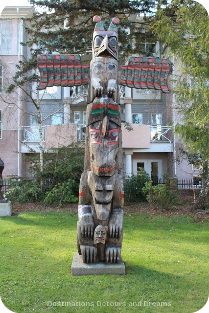 "Pole of Wealth totem pole by Hwunu'metse' (Simon Charlie) in Duncan, British Columbia, the ""City of Totems"""