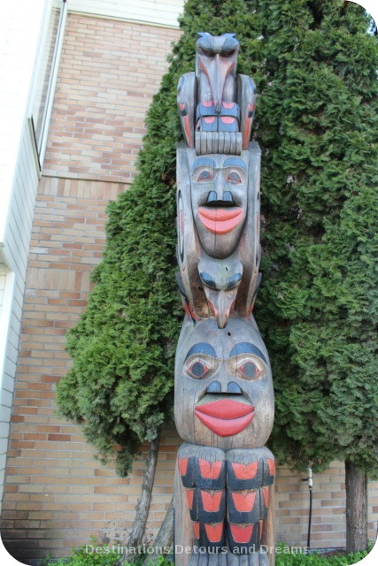 Raven Stealing the Sun by Si-yaaxultun (Donald [Don] Smith) totem pole in Duncan British Columbia, City of Totems