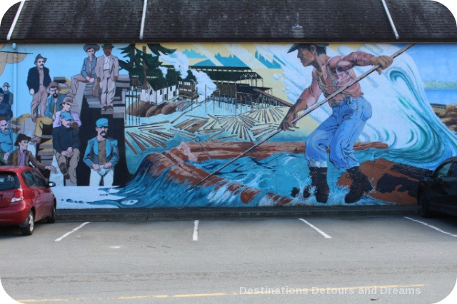 Murals in Chemainus, British Columbia (Muraltown): part of The Thirty-Three Metre Collage, section by Frank Lewis and Nancy Lagana