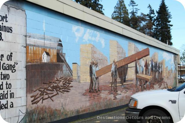 Murals in Chemainus, British Columbia (Muraltown): 1884 Chinese Bull Gang by Ernet Marza