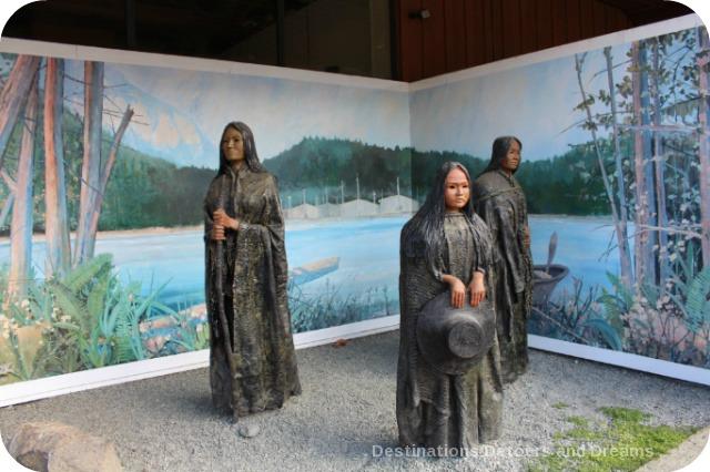 Murals in Chemainus, British Columbia (Muraltown): Three Generations Sculpture by Sandy Clark