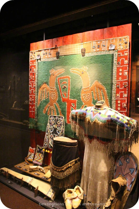 The story of British Columbia at the Royal BC Museum - beads incorporated into First Nations work