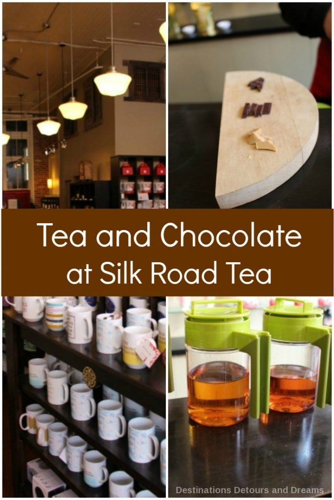 Tea and chocolate tasting at Silk Road Tea in Victoria, British Columbia. The store also has skin care products and a spa.