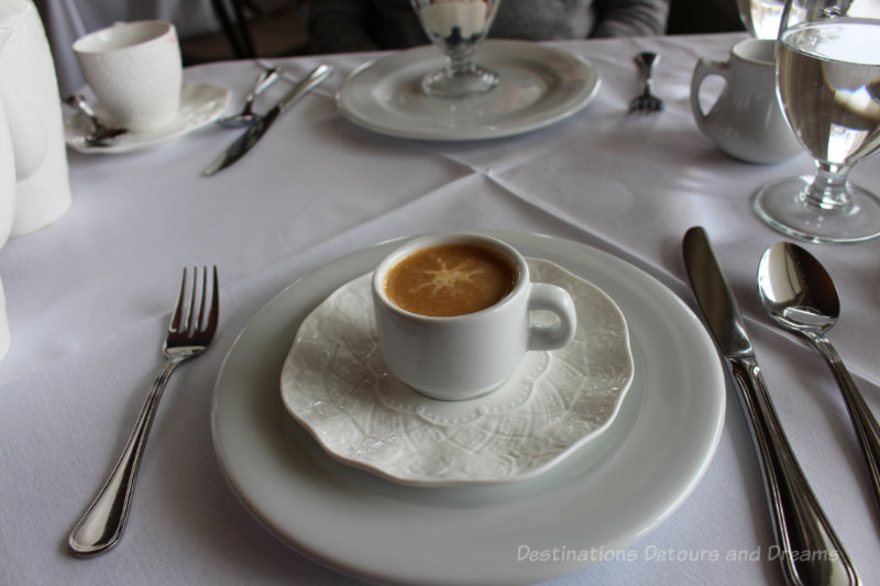 Crab bisque at Afternoon tea at the Gatsby Mansion in Victoria, British Columbia