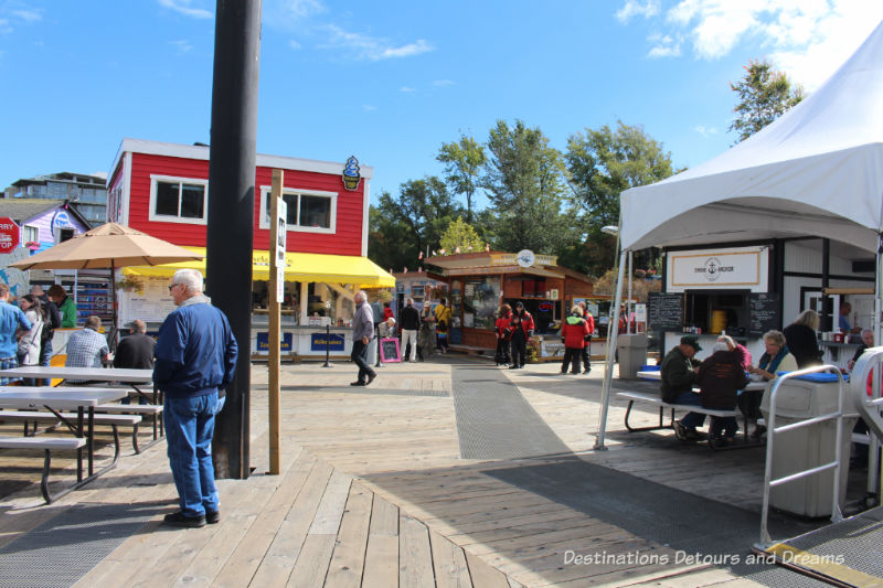 Food kiosks at Fisherman's Wharf in Victoria, British Columbia