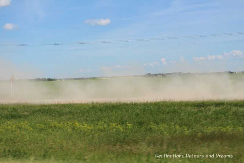 Canadian Prairie Summer Road Trip Photo Story: dust along a side road