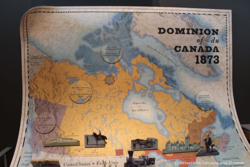 Canada Past and Present at RCMP Heritage Centre in Regina, Saskatchewan: map of Canada in the 1870s
