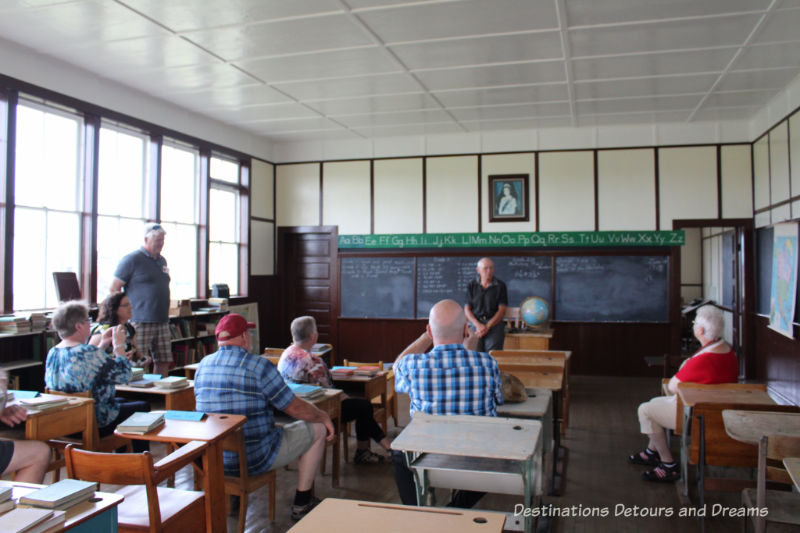 Inside the school at Arborg and District Multicultural Heritage Village,where restored buildings preserve the past.