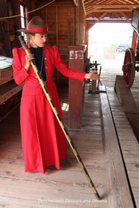 Grain elevator agent in Heritage Park Historical Village in Calgary, Alberta