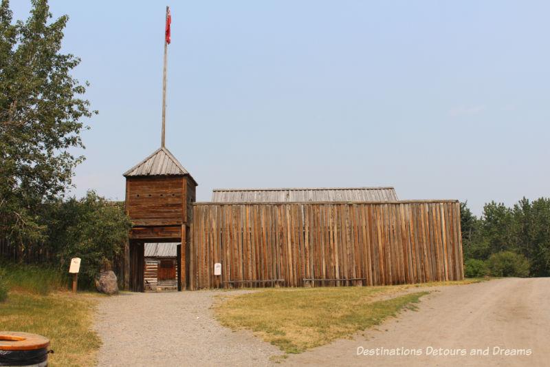 Hundson's Bay Company Fur Trading Fort in Heritage Park Historical Village in Calgary, Alberta