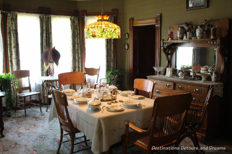 Prince House dining room in Heritage Park Historical Village in Calgary, Alberta